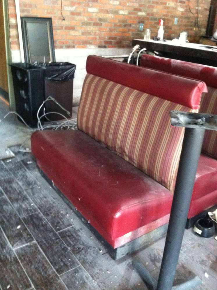 old red striped booths