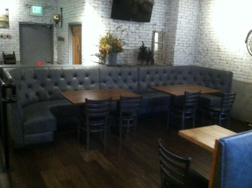 new light blue booths and tables