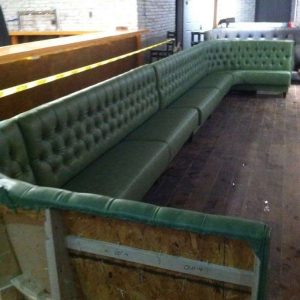 mint green booths ready for transport