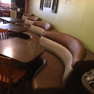 wavy brown booths