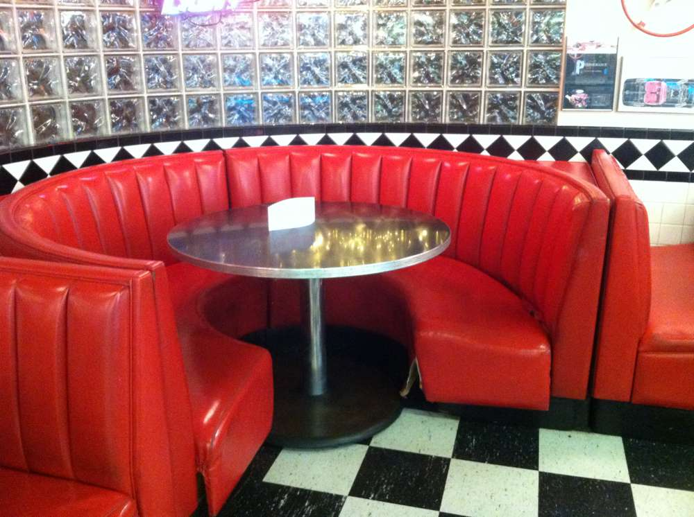red restaurant booths