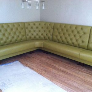 green leather booth corner