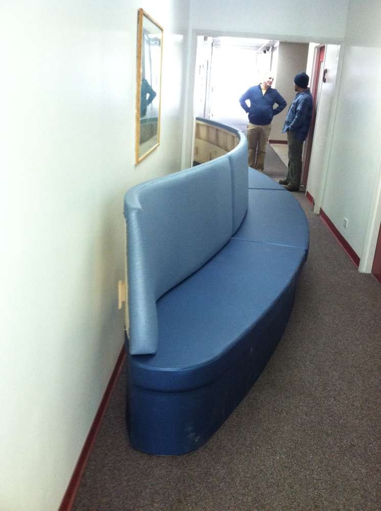 curved light and dark blue custom booth