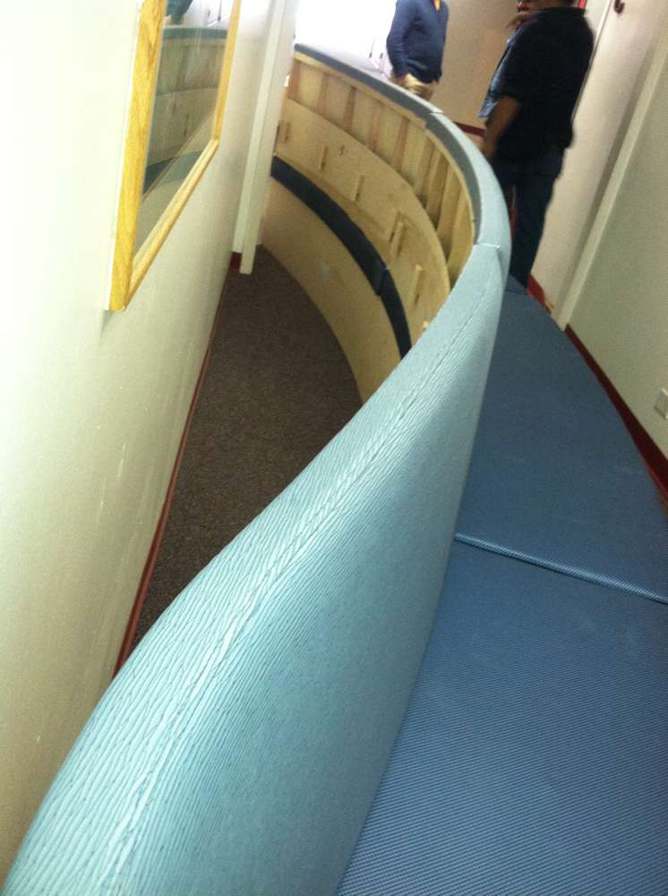 curved blue custom booth