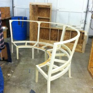 building round wood booth frame