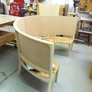 round wood booth frame