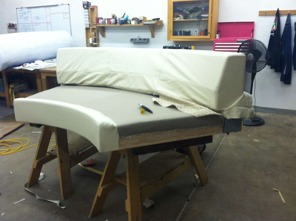 upholstering a round sofa piece