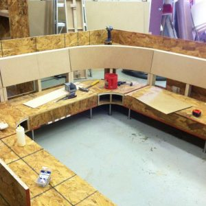 covering a U shaped booth
