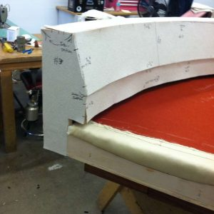 working on a round sofa