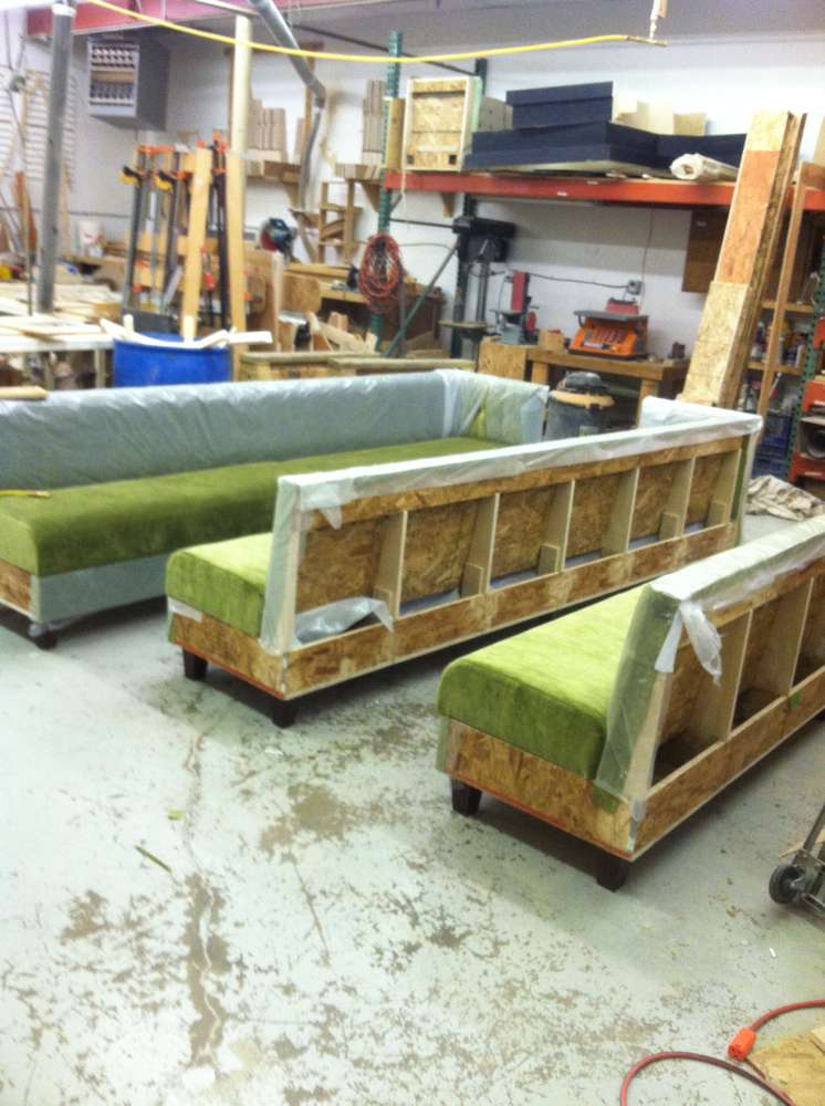 green booths ready for transport
