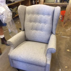 re-upholstered armchair