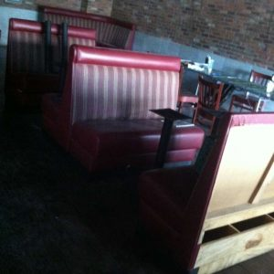 taking our old red striped booths