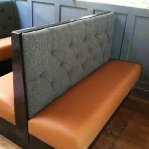 grey and orange booths