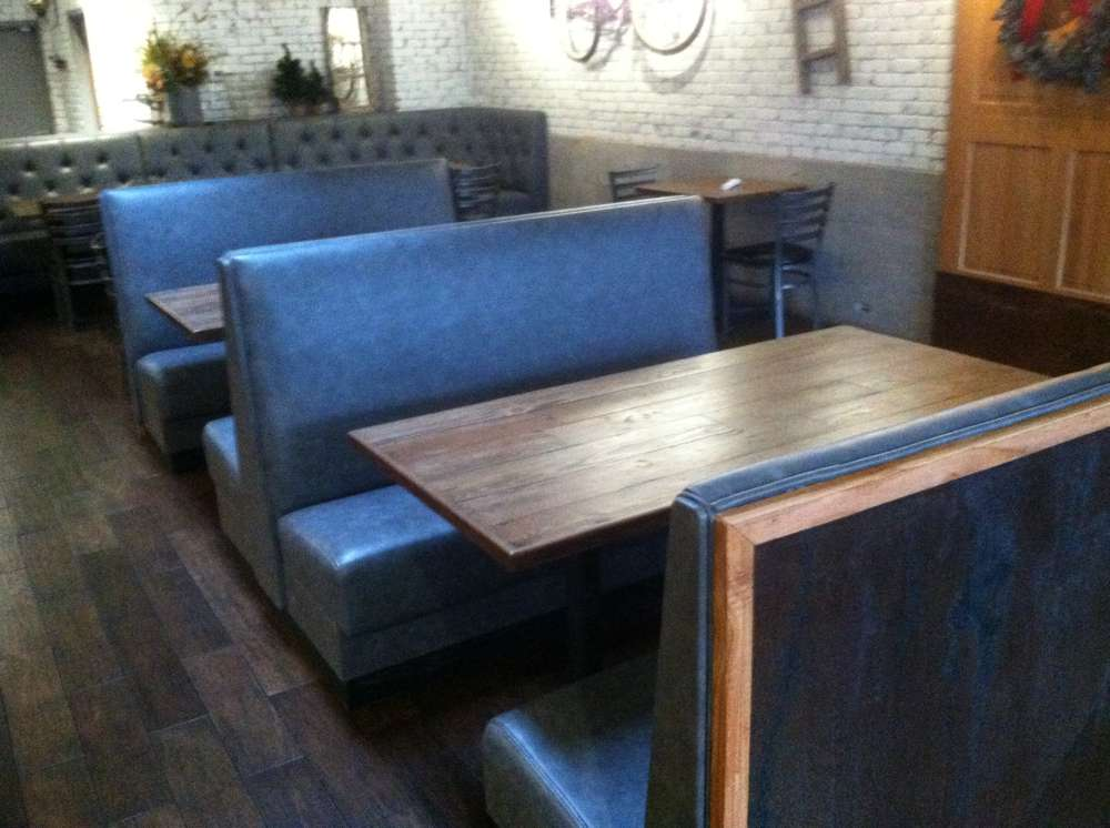 new light blue restaurant booths