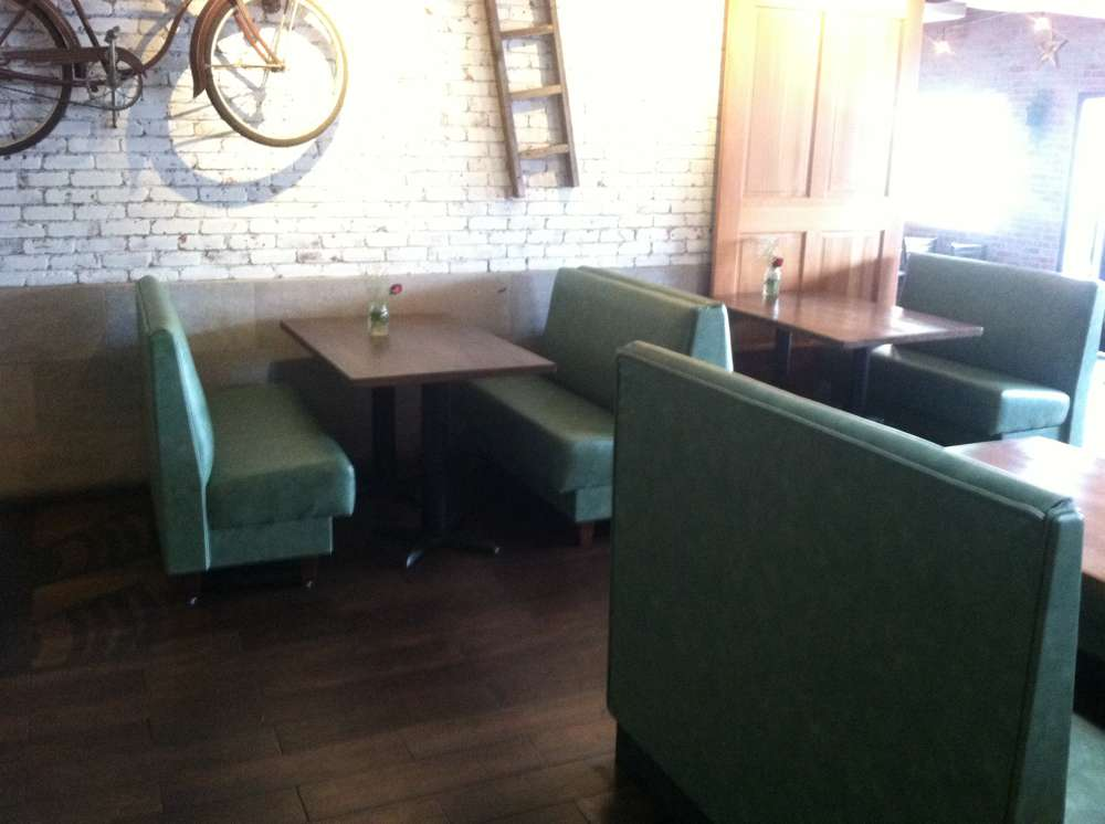 green restaurant booths