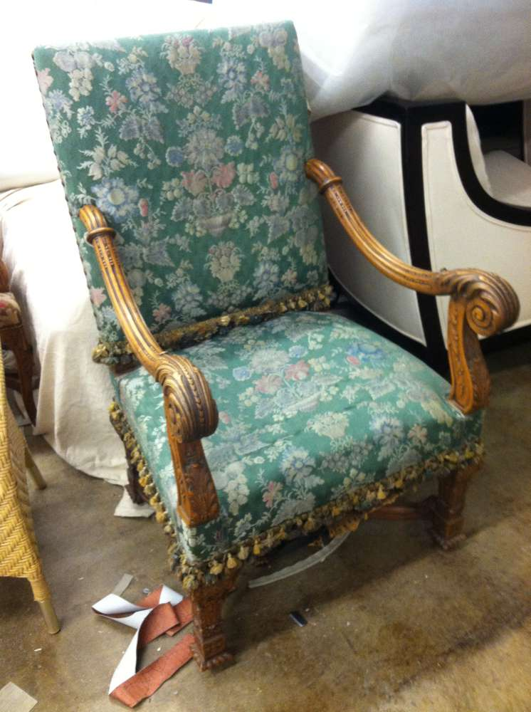 old green armchair