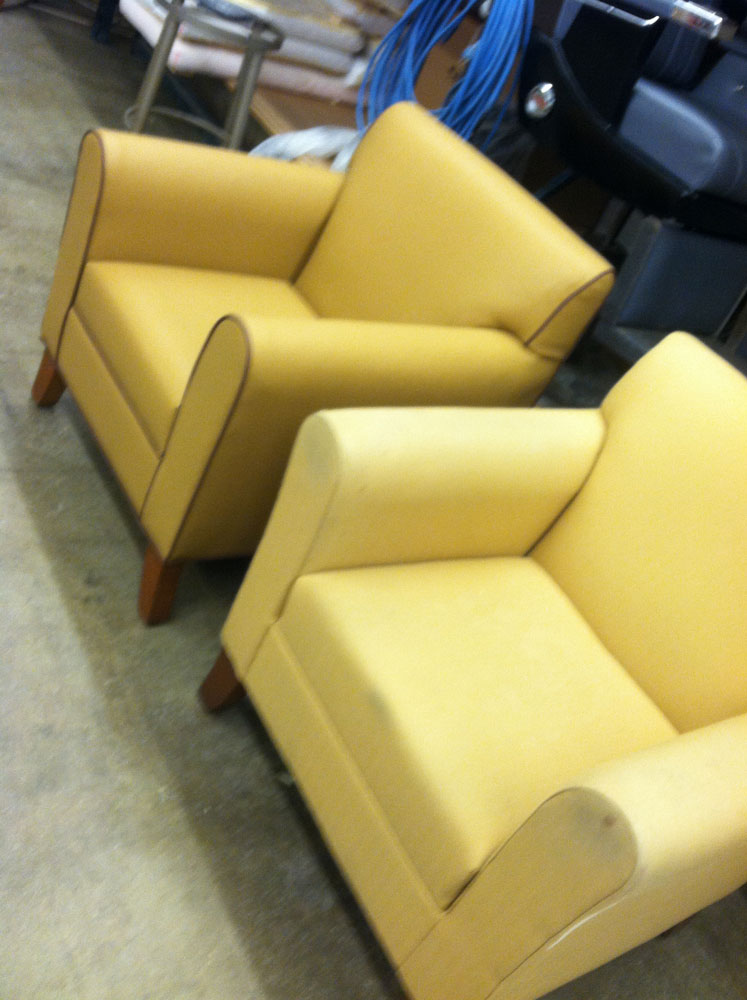 yellow armchairs before and after