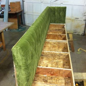 upholstering a green booth