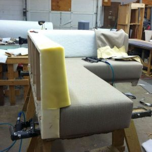 upholstering the top of the sofa